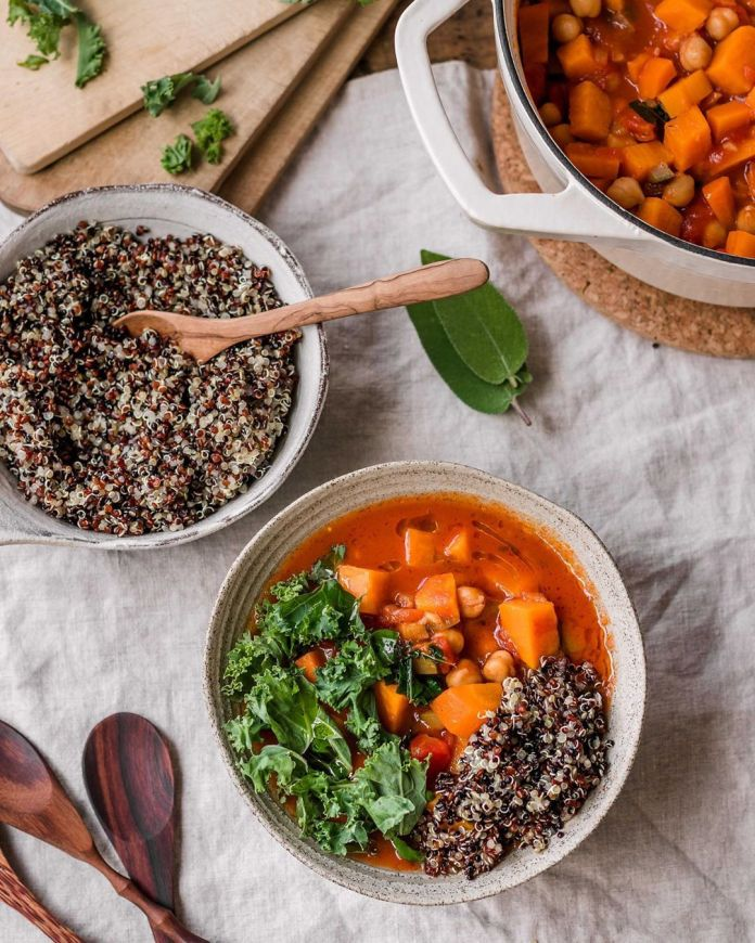 Chickpea Stew with Sweet Potatoes, Quinoa & Kale