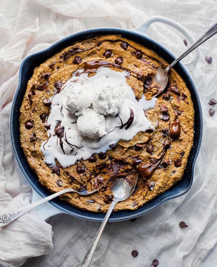 Pumpkin Chocolate Chip Skillet Cookie