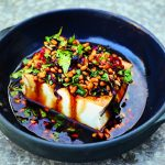 Vegan Silken Tofu with Pine Nuts and Pickled Chiles