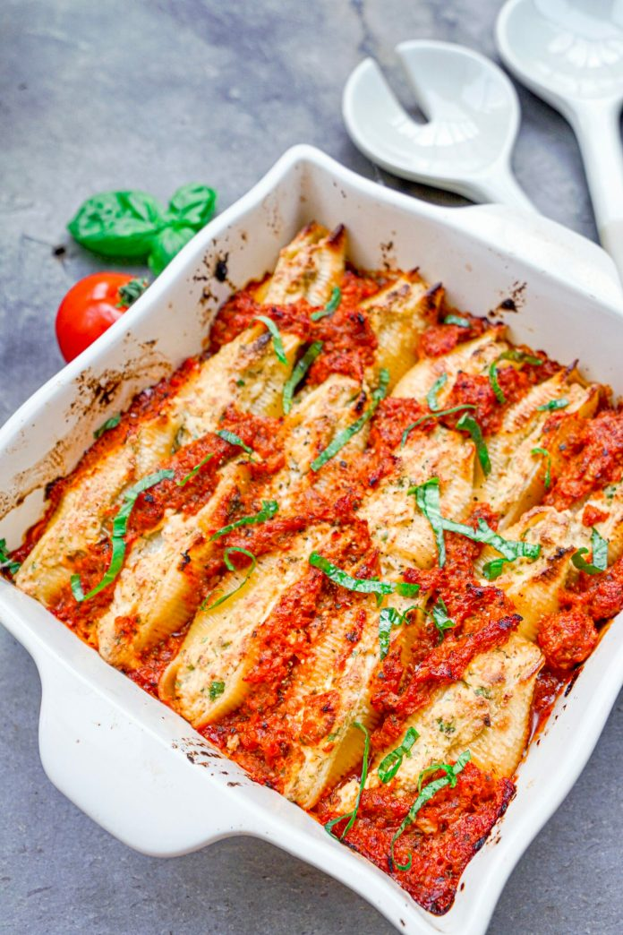 Tofu Ricotta Stuffed Shells with Mushroom Ragu Bolognese from Angela's Plant-based Kitchen