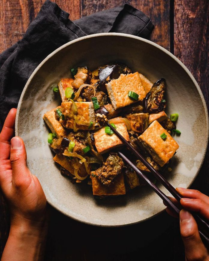 Tofu and Eggplant Ginger Stir Fry