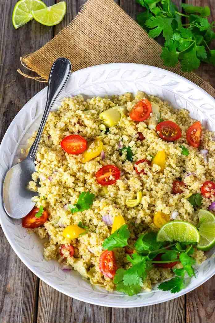vegan artichoke recipe: quinoa salad