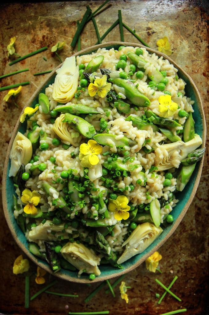 vegan artichoke recipe: green risotto