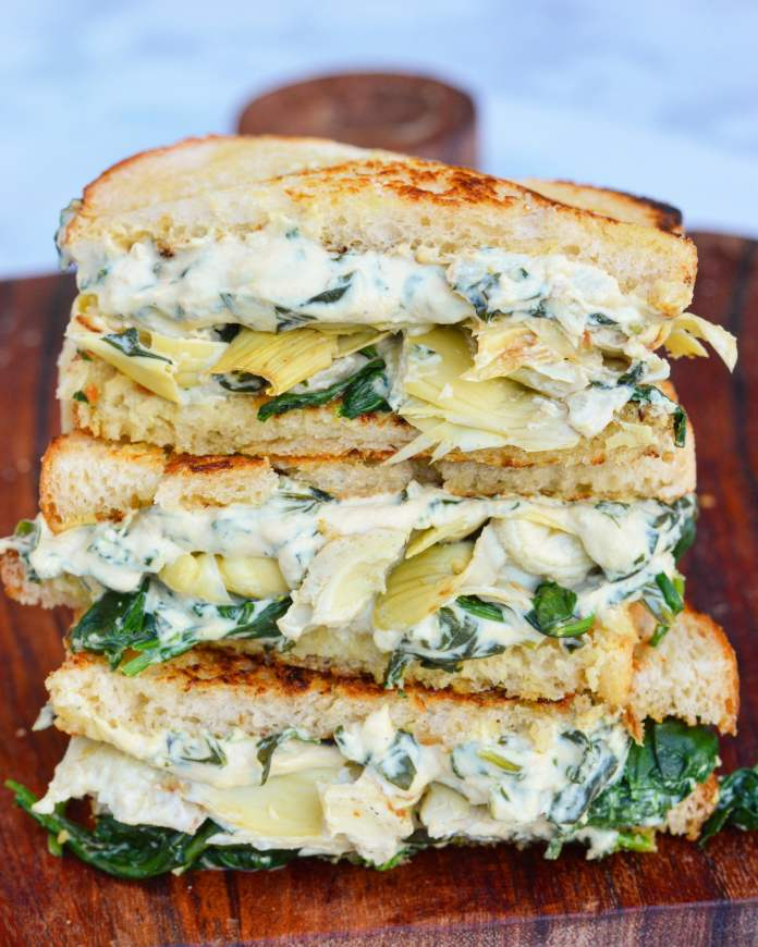 vegan artichoke grilled cheese sandwich