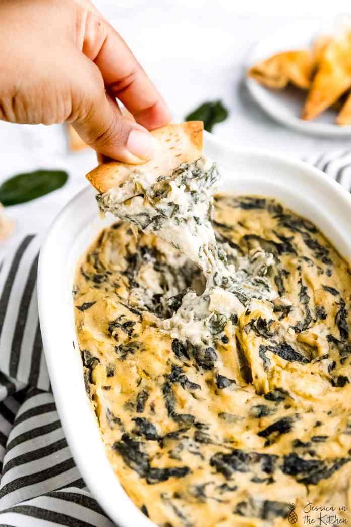 vegan artichoke recipes: artichoke spinach dip