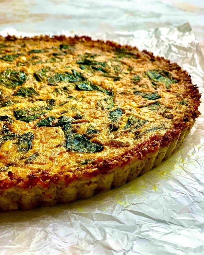 Vegan Spinach & Feta Quiche With Cauliflower Crust