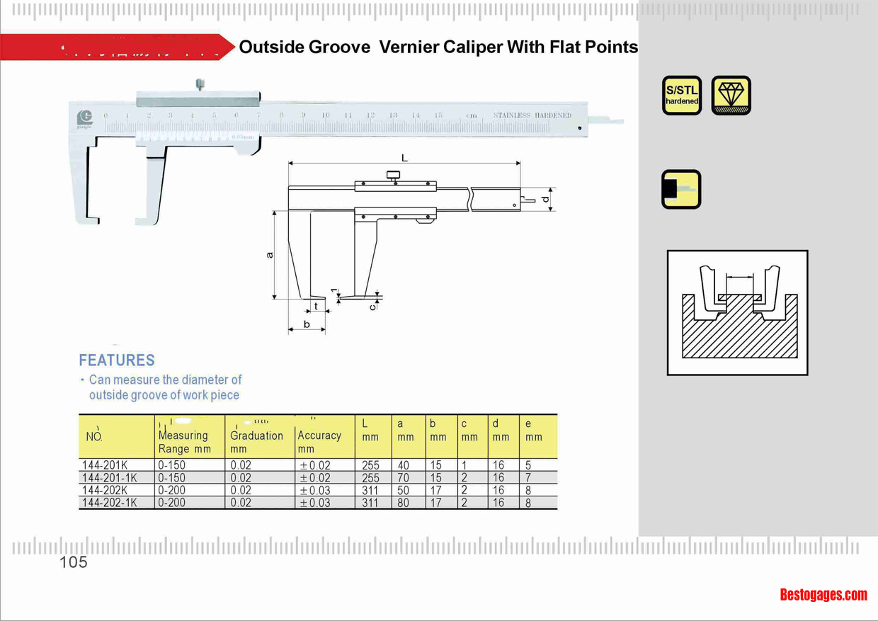 Outside Groove Vernier Caliper With Flat Points