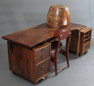 """Here's the whole set, including """"Desk and Cabinet"""", """"Mahogany Chair"""", """"Beehive"""" and """"Printer Stand."""""""