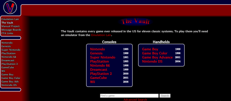 Vimms Lair The Vault for roms