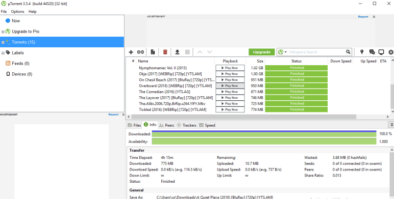 utorrent bittorrent client