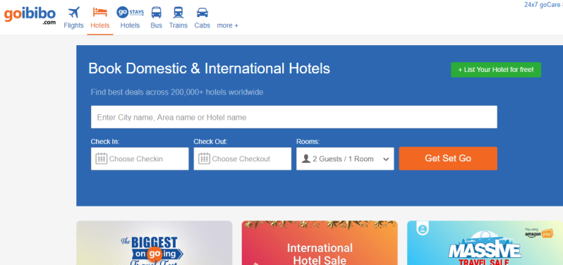 Goibibo site for booking cheap hotels