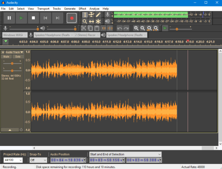 audacity open source audio editing software