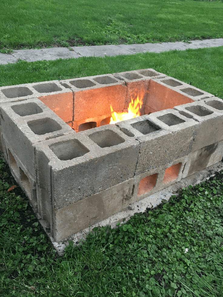 7 Awesome Cinder Block Fire Pit Ideas ... on Building Outdoor Fireplace With Cinder Block id=68766