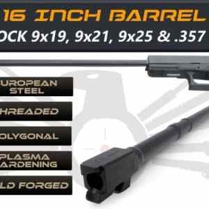 "Glock Gen 5 Long Barrels 16"" Made By IGB Austria - Match Grade Polygonal 16"" Threaded Barrel For 9x19, 9x21, 9x25 And .357 Sig Caliber"