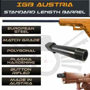 Gen 3 & 4 Glock Threaded Barrel & Fluted Barrel Standard Length - Match Grade Polygonal Profile By IGB Austria