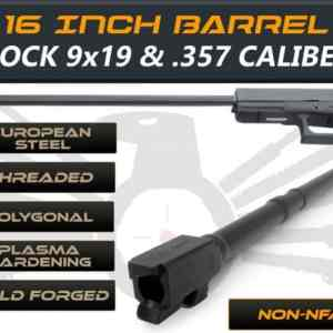 "Gen 3 & 4 Glock 16"" Long Barrel - IGB Austria Match Grade Polygonal 16"" Threaded Barrel For 9x19 & .357 Sig Caliber"