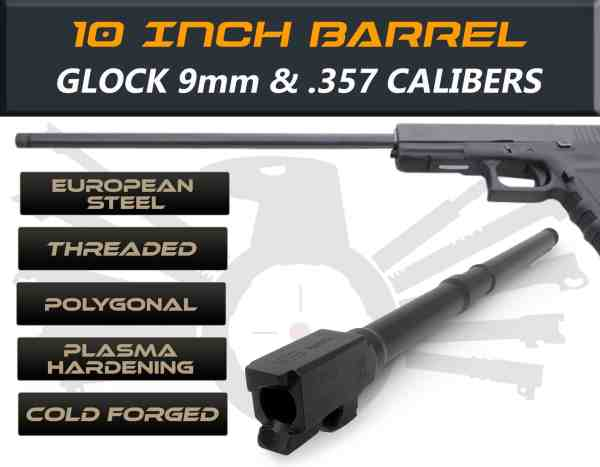 "Glock 35 9mm caliber -10"" Threaded Barrel"