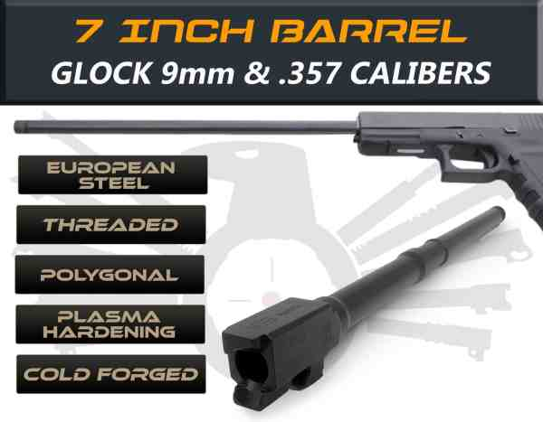 "Glock 22/31 9mm caliber - 7.5"" Threaded Barrel"