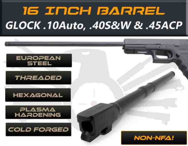 "Glock 20 .40 S&W caliber -16"" Threaded Barrel"