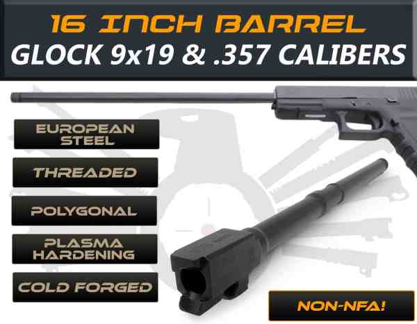 "Glock 17 9mm caliber -16"" Threaded Barrel"