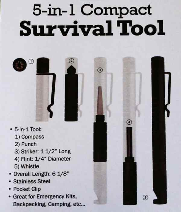 5 in 1 Compact Survival Tool