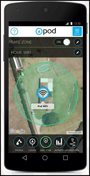 safe zone alerts pod 2 gps app
