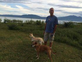Chuck Bolotin with two dogs near Lake Chapala, Mexico