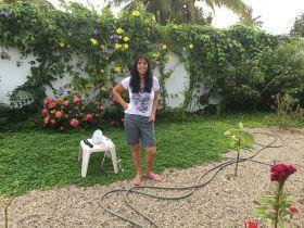 Jet Metier in a garden in Mexico