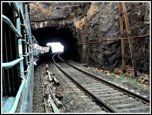 Train entering the tunnel
