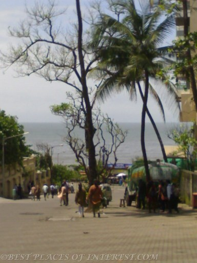 A view of the sea while coming down the hill.