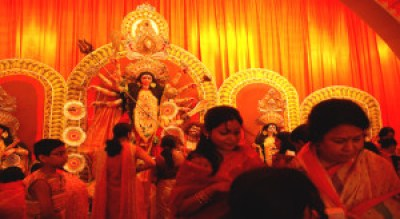 A typical scene at a Kolkata puja Image courtesy: Bodhisattva Sen Roy