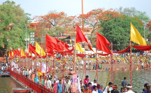 Vermillion and yellow flags