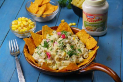 Macaroni with Creamy Corn and Nachos-Monsoon special snack time recipes