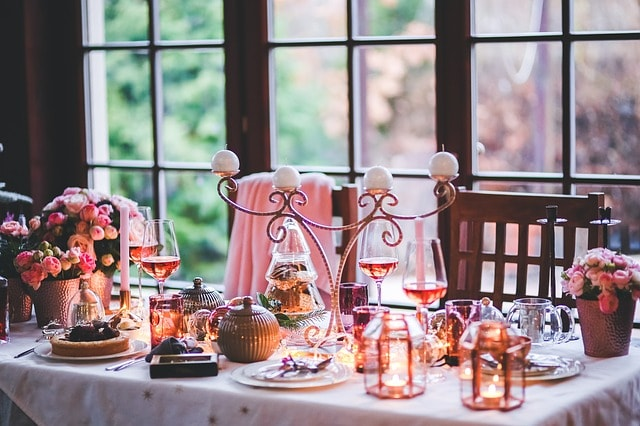 Christmas table setting at home