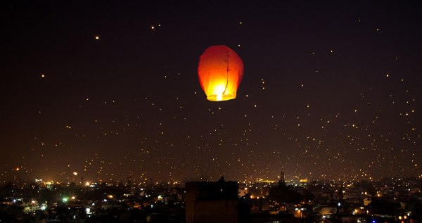 A night lit up on Makar Sankranti Uttarayana Festival