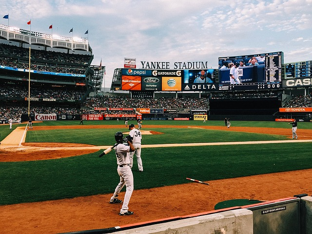 Play baseball at Yankee stadium, New York, USA