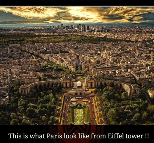 A view of Paris from Eiffel Tower, breathtaking places of the world