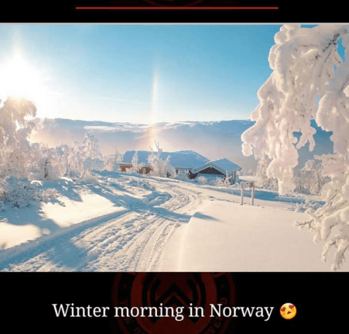 Winter morning in Norway, breathtaking places in the world