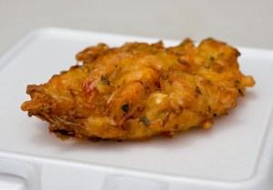 Bakwan (seafood cake with whole shrimp), street food Indonesia