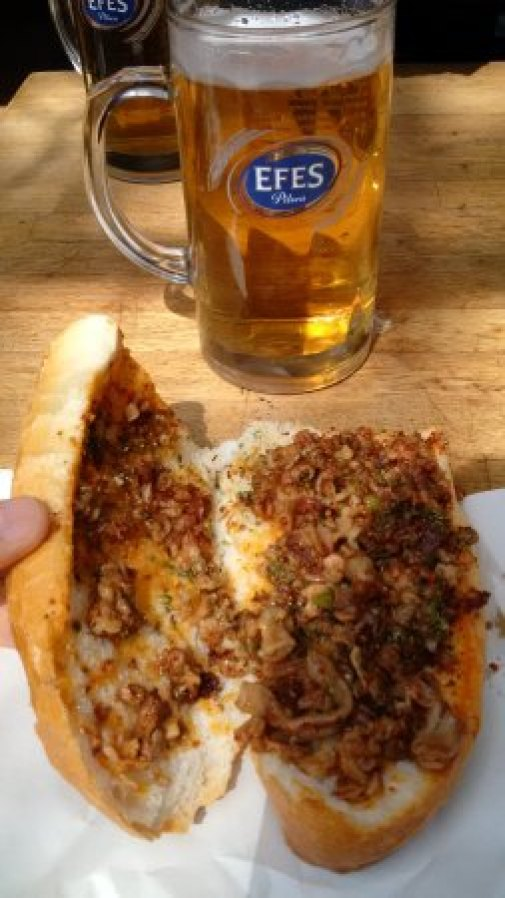 Kitir: Kokorec with Beer, Turkish street food