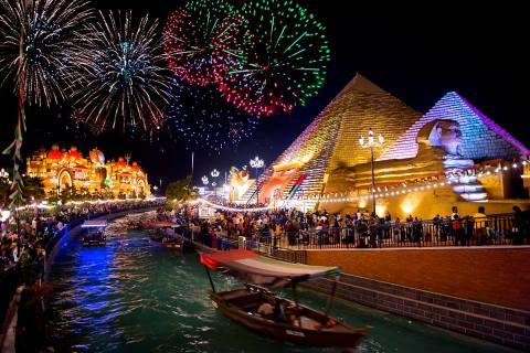Fireworks at global village, Dubai shopping festival