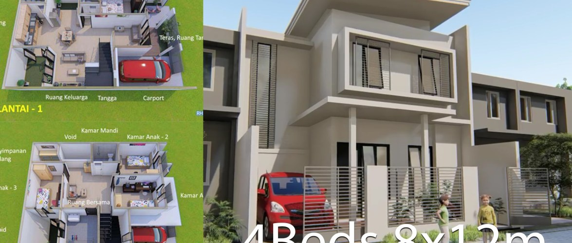 Home design plan 8x12m with 4 bedrooms