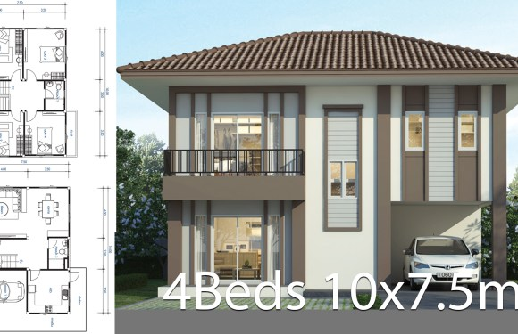 House design plan 10×7.5m with 4 bedrooms