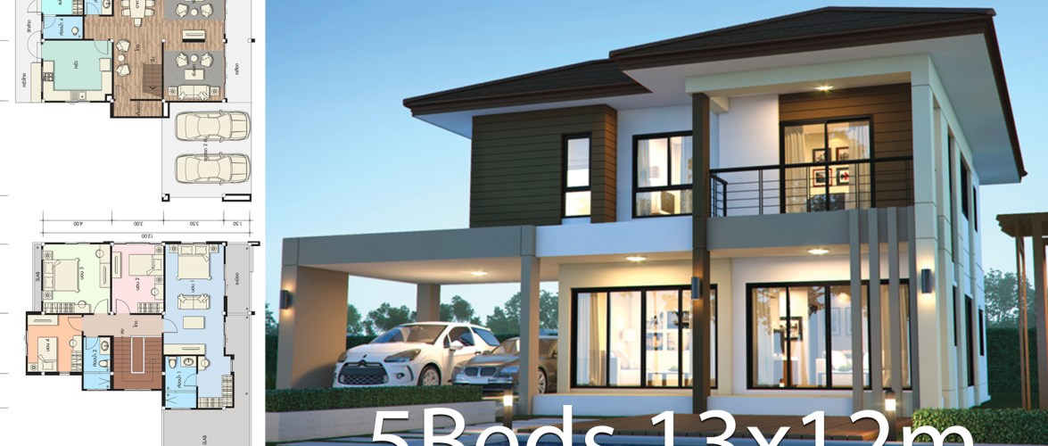 House design plan 13x12m with 5 bedrooms