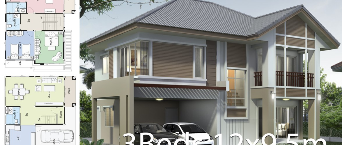 Home design plan 12×9.5m with 3 bedrooms