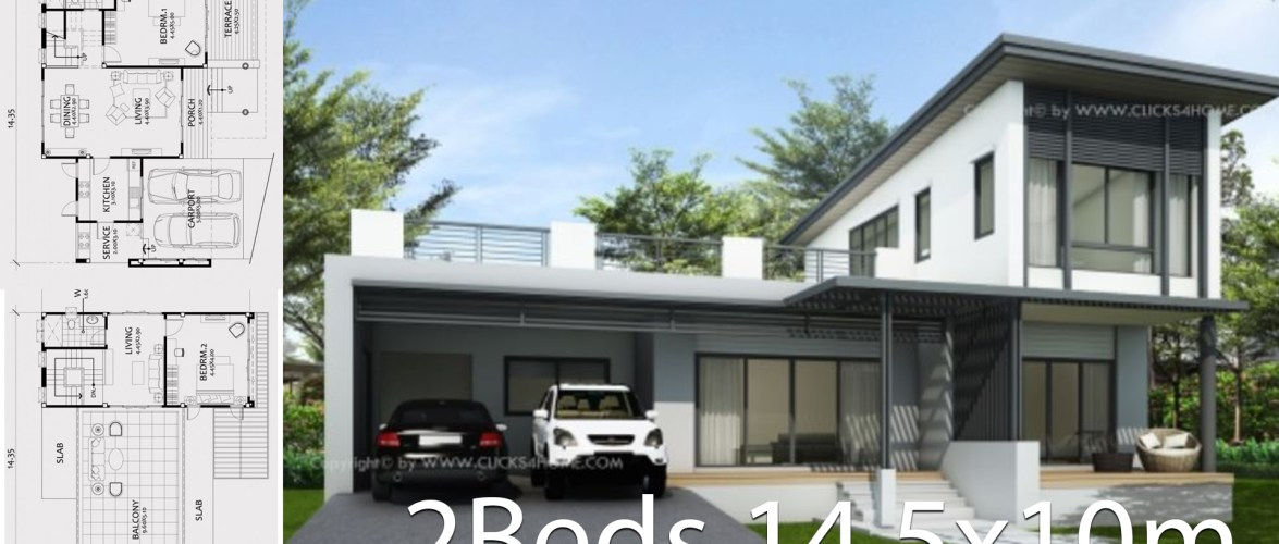 Home design plan 14.5x10m with 2 bedroom
