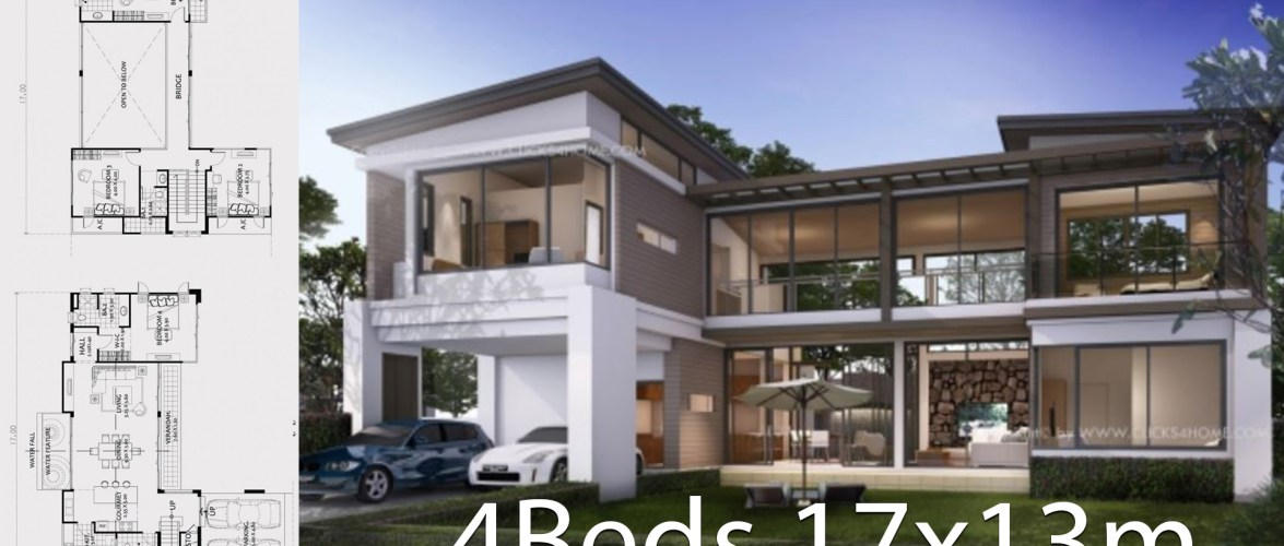 Home design plan 17x13m with 4 bedrooms