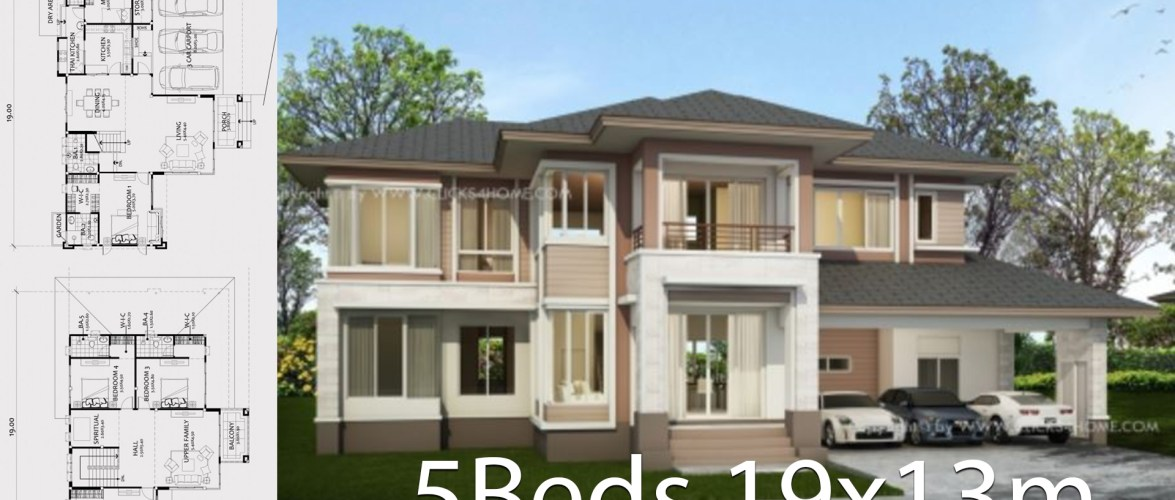 Home design plan 19x13m with 5 bedrooms