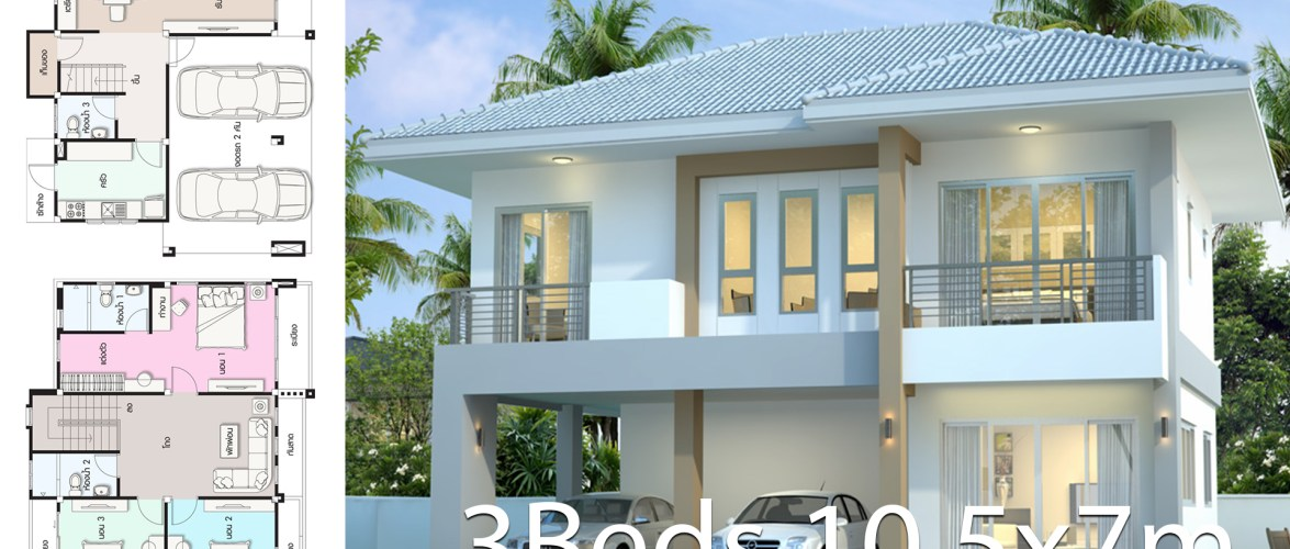 House design plan 10.5x7m with 3 bedrooms