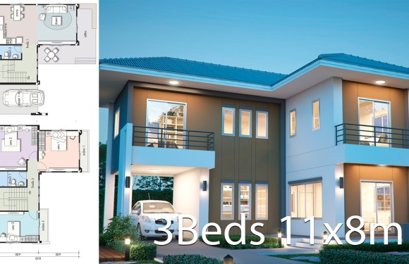House design plan 11x8m with 3 bedrooms